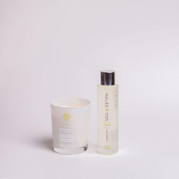 Malée Natural Science At Home spa kit verdure moisturising candle and verdure moisturising Oil