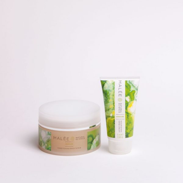 Malée Natural Science Verdure conditioning body scrub and verdure nourishing hand cream for hand care kit
